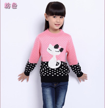 2016 New Autumn &Winter 3~15 Girls Sweater Long Sleeve Wool Sweaters Cotton Clothes Children Cartoon Clothing Baby Girl Pollover