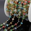 5 м смешанный цвет стекла проволоки , свернутой цепи, Розарий граненные латунным покрытием цепи, Женщины ожерелье браслет ювелирных изделий