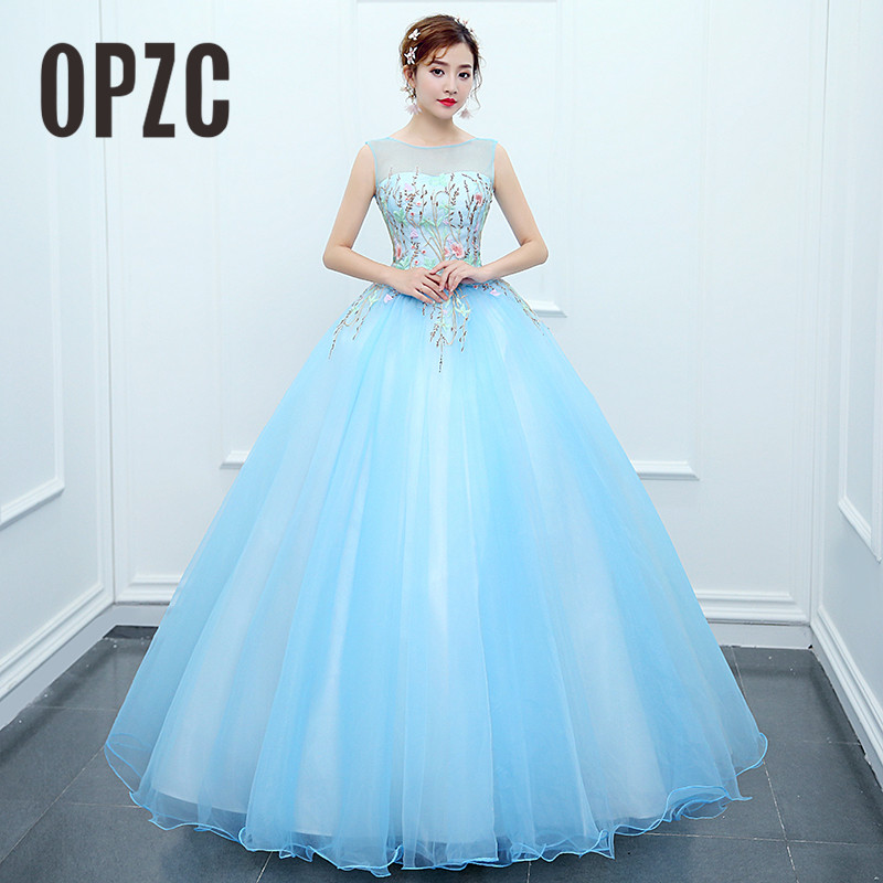 OPZC 2018 New Arrival Long Evening Dress Sleeveless O-Neck Lace Appliques Flower Illusion Gown For Formal Party Show Wedding