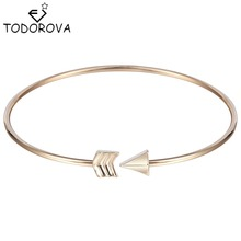 Todorova Romantic Cupid's Arrow Girls Bracelets Bangle Silver Gold Simple Brand Jewelry Open Cuff Bracelet for Women Best Gift