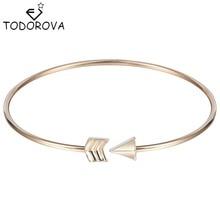 Todorova Romantic Cupid's Arrow Girls Bracelets Bangle Silver Gold Simple Brand Jewelry Open Cuff Bracelet for Women Best Gift