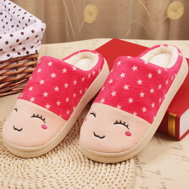2016 Smiling Face Cotton Slippers Women Thick Warm Winter Indoor Floor Slipper Home House Slippers Shoes