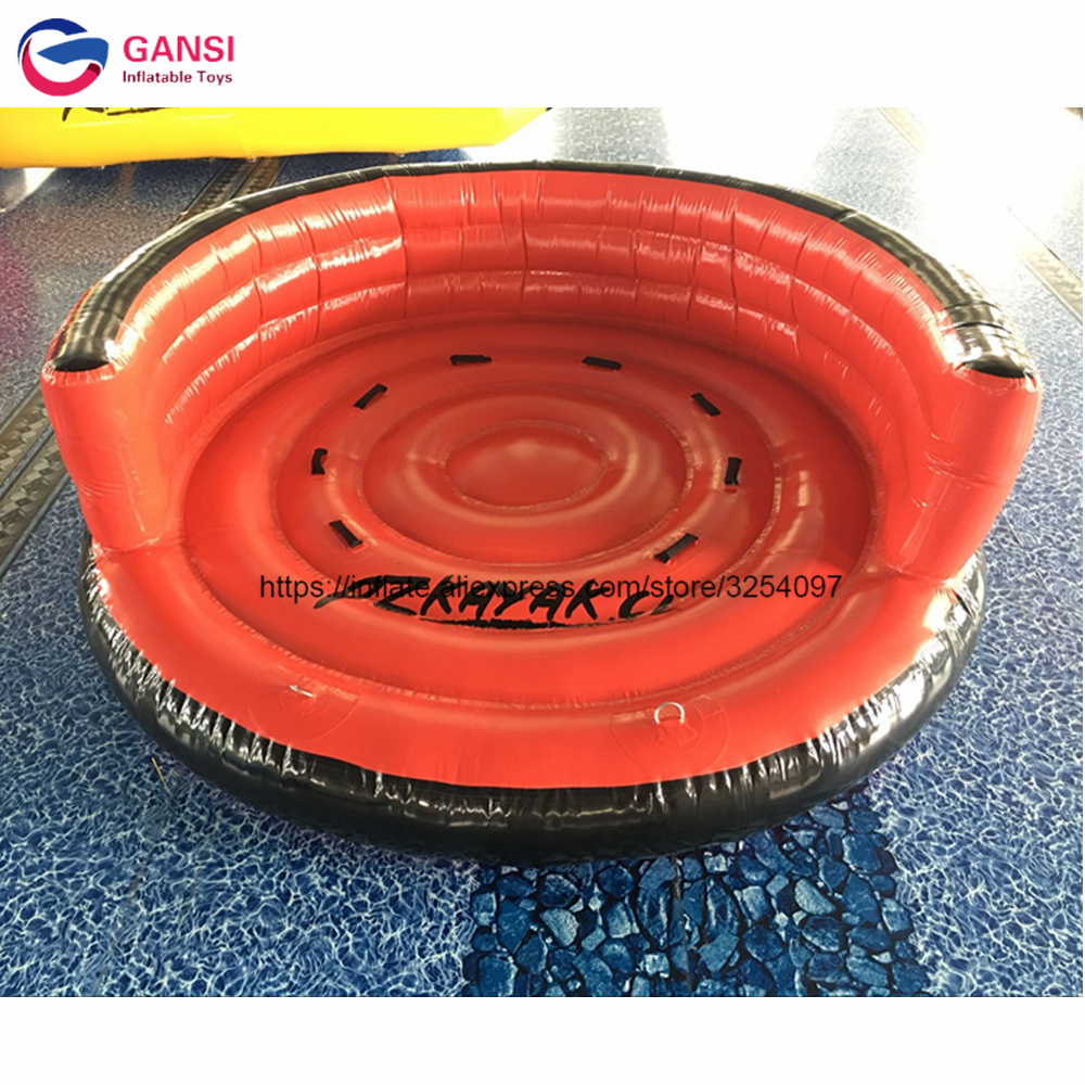 Popular 0.9mm PVC tarpaulin water UFO flying boat ,3m diameter crazy game water ski tube ...