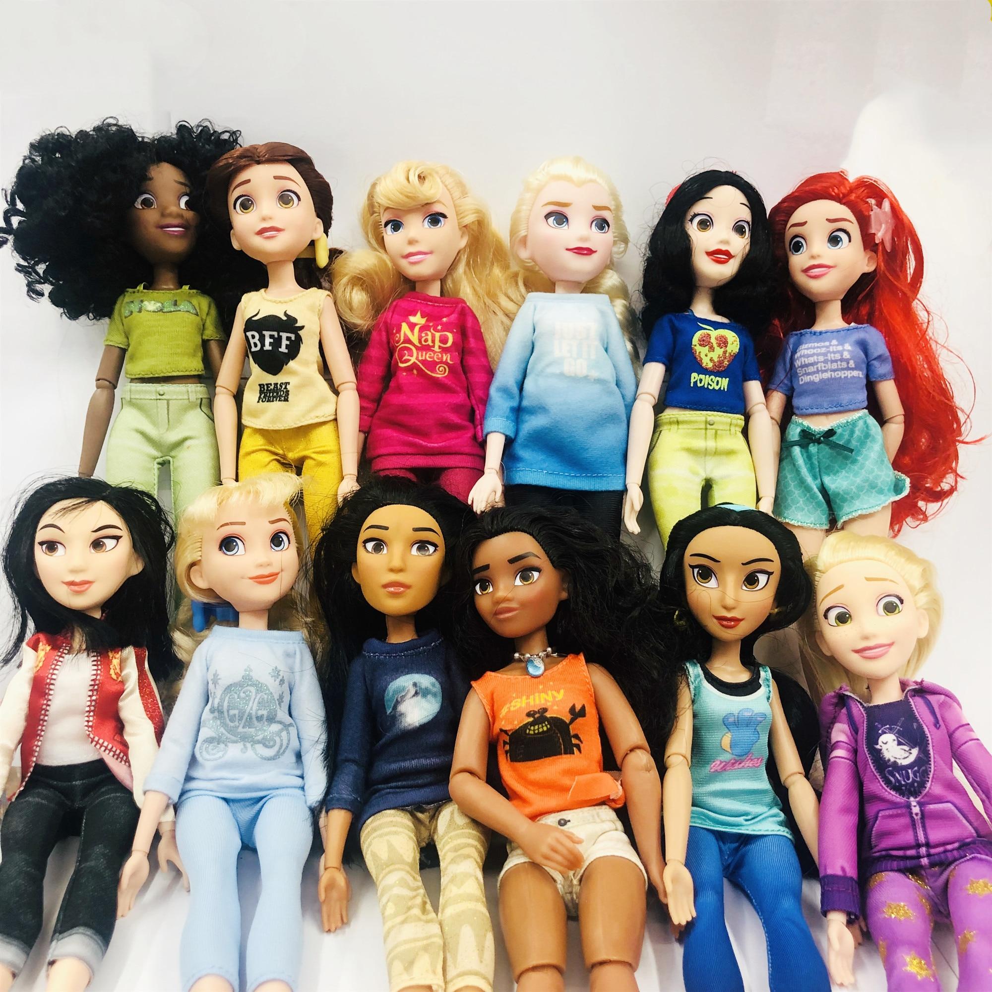 New Rapunzel Princess Jasmine Princess Of Casual Wear Doll Snow White Ariel Merida Cinderella Aurora Belle Dolls For Girls Toy