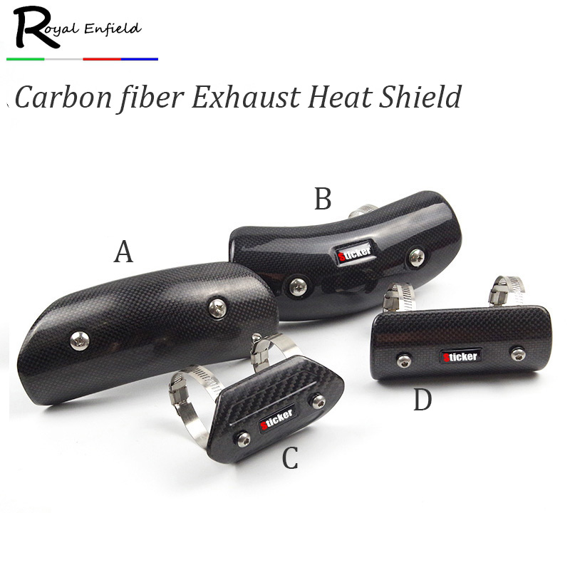 Motorcycle Exhaust Muffler Cover Carbon Fiber Color Protector Heat Shield Cover Guard TM ...