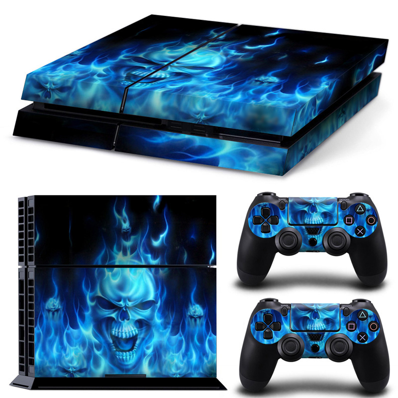 2018 Newest Video Game Skin Sticker For Sony Play Station 4 Console & Controller Vinyl Skins PS4 Accessories blue skulls