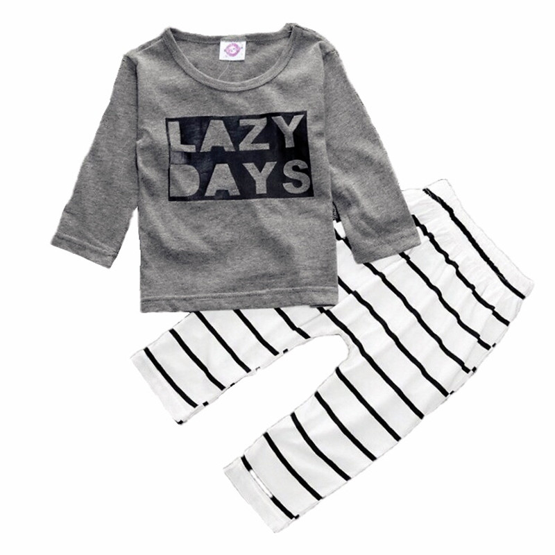 Newborn Babys Sets Boys T-Shirt +Striped Pants 2 Piece Suit Infant Cotton Pullover O-Neck Clothing Autumn Long Sleeves Costumes