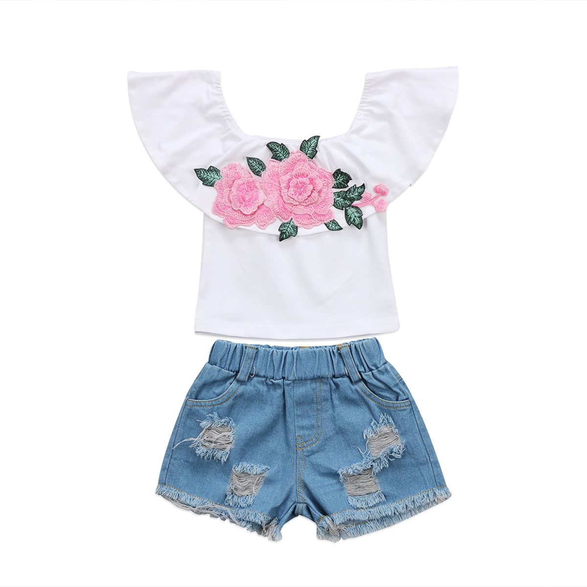 Kids Toddler Baby Girl Outfit Floral T Shirt Tops Denim Shorts Pants Clothes Set