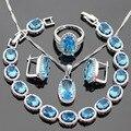 Ligh Azul Creado Topacio de Color Plata Sistemas de La Joyería Collar Colgante Pulseras Pendientes Anillos Para Las Mujeres Navidad Caja de Regalo Libre