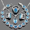 Ligh Blue Created Topaz Silver Color Jewelry Sets Necklace Pendant Bracelets Earrings Rings For Women Christmas Free Gift Box