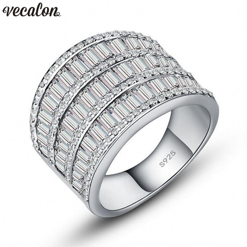 Vecalon Luxury Hyperbole Big Ring 925 Sterling Silver 5A Zircon Cz Engagement Wedding Band rings for women men Finger Jewelry vecalon heart shape jewelry 925 sterling silver ring 5a zircon cz diamont engagement wedding band rings for women bridal gift