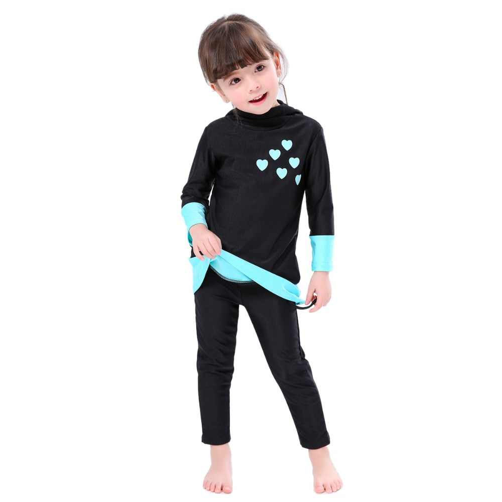 436b76024af8f ... Girls Muslim Swimwears Islamic Children Two-piece Long Sleeve Swimsuits  Arab Islam Beach Wear Swimming ...