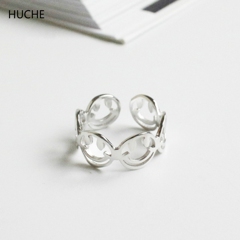 HUCHE Pure Sterling Silver Jewelry Smile Face Silver 925 Rings for Women Adjustable Ring Finger Lucky Ladies Ringen Anel HC043
