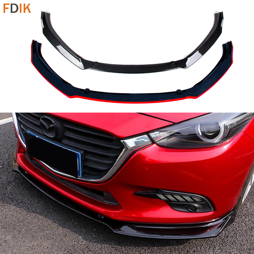 Sport Racing Carbon Fiber & Black Front Lower Bumper Skirt Lip Cover Trim Protector For Mazda 3 Axela M3 Sedan 2014-2018 for mazda 3 axela hatchback sedan 2014 2015 2016 abs high quality air conditioning ac control switch cd panel cover trim 1 pcs