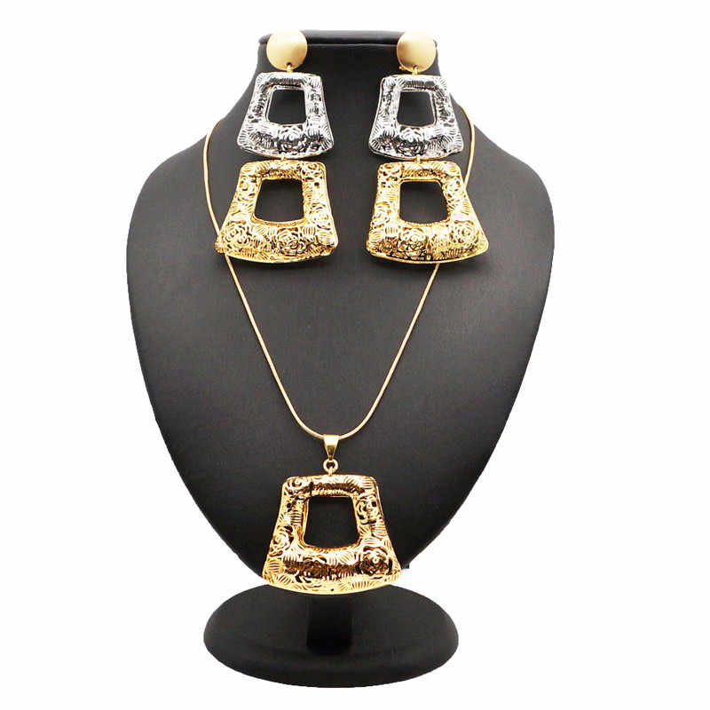 fashion new jewelry pendant necklace earring set and chain gold best quality jewelry sets women african EP60