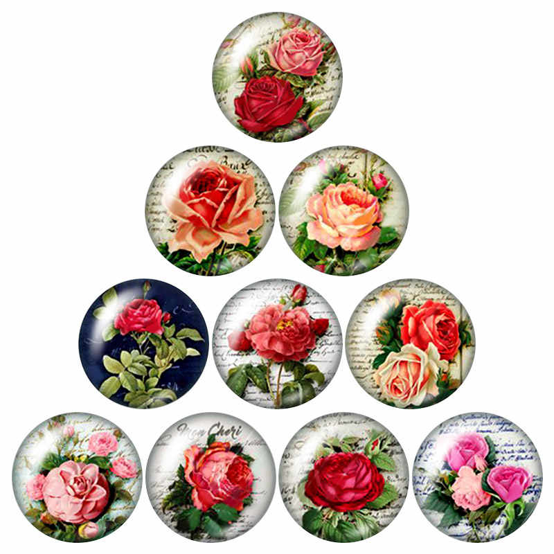 New Beauty Colorful Flowers pattern 10pcs mixed 12mm/16mm/18mm/25mm Round photo glass cabochon demo flat back Making findings