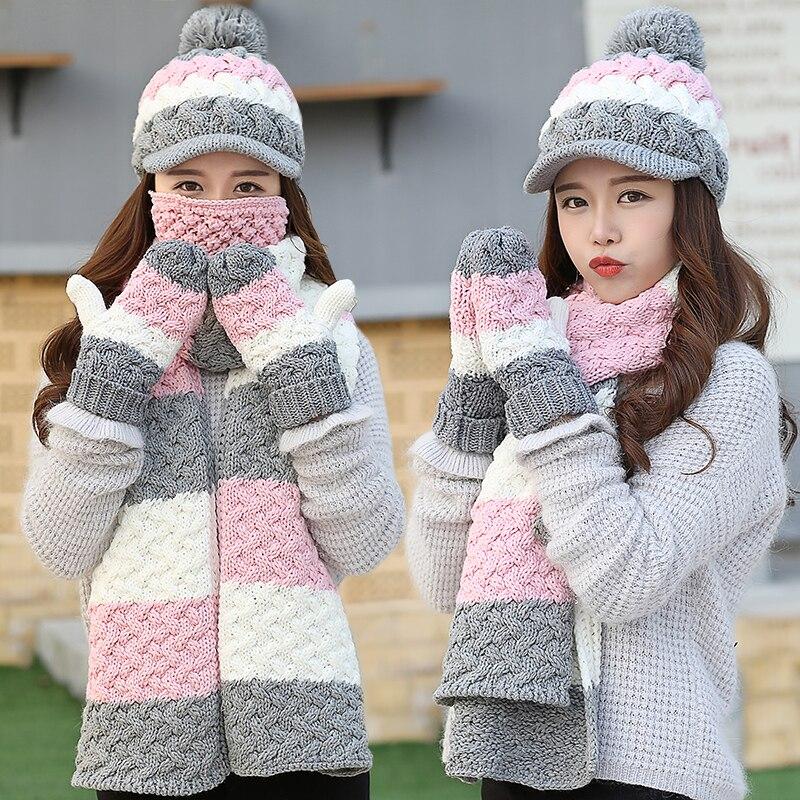 CIVICHIC Style coréen chaud ensemble dame Crochet hiver écharpe chapeau gant masque 4 pièces mignon Pompon casquette épaissir mitaines rayure châle SH188 - 4