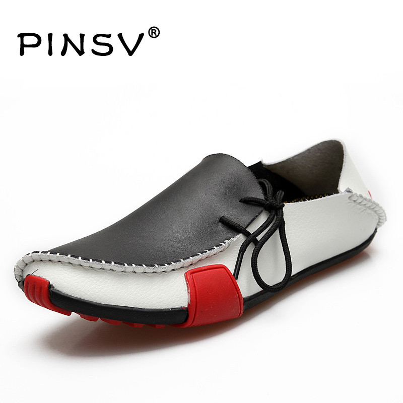 PINSV Men Leather Shoes Mens Loafers Summer Autumn Moccasins Mens Shoes Casual For Driving Sapato Masculino Big Size 38-47