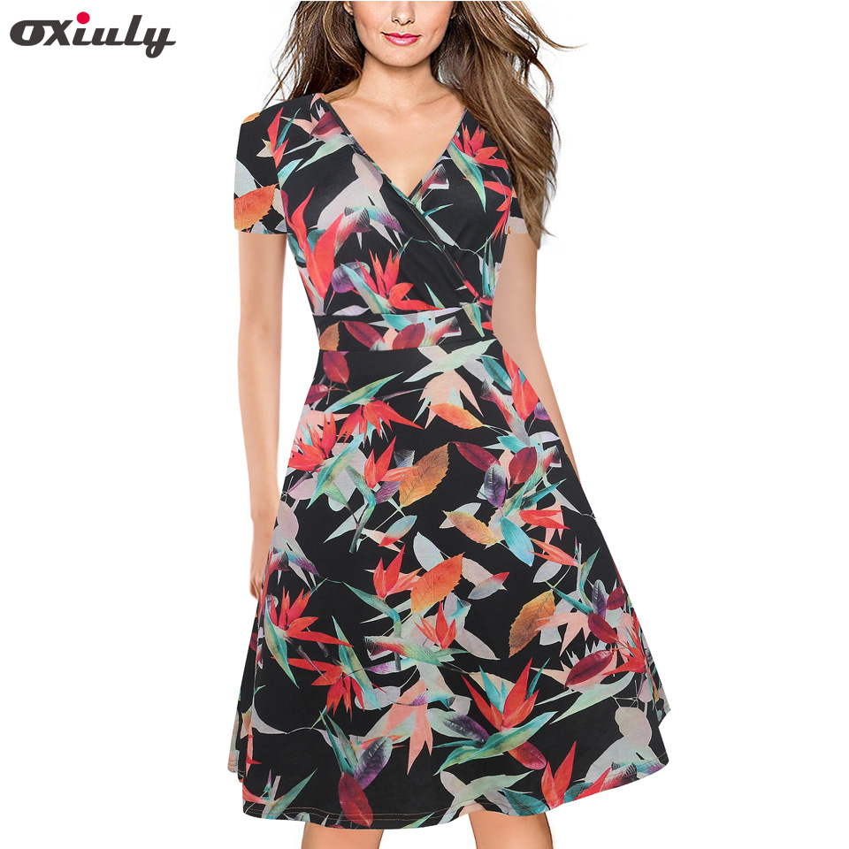 Oxiuly Vintage Floral Printed <font><b>Sexy</b></font> <font><b>Deep</b></font> <font><b>V</b></font> <font><b>Neck</b></font> Pinup Vestidos A-Line Business Women Party Flare Swing Skater <font><b>Dress</b></font> image