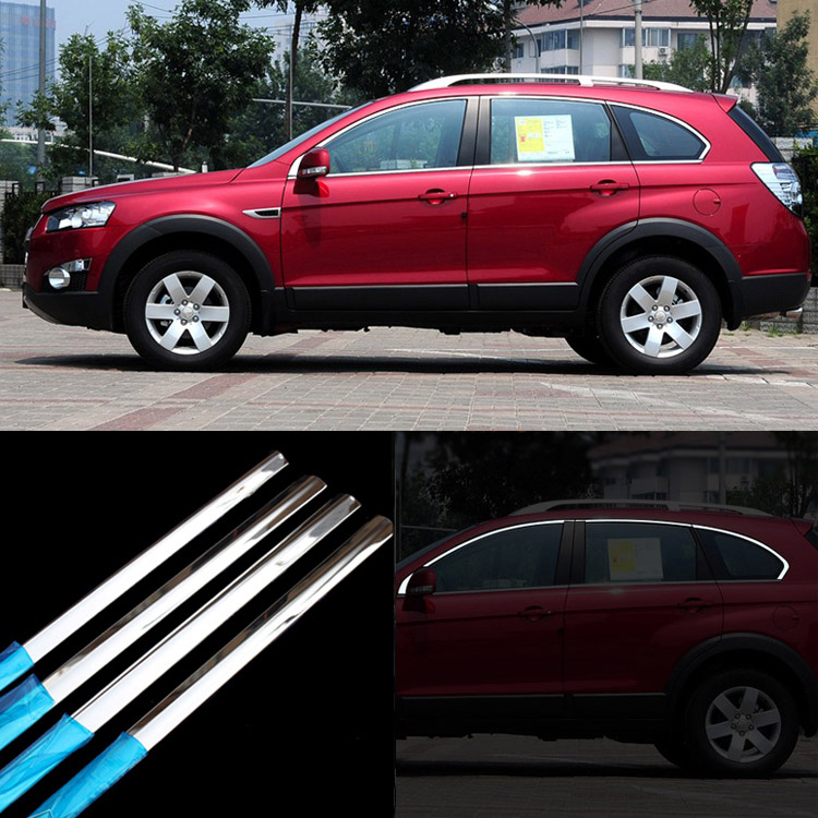 Ipoboo 8pcs Stainless Steel Door Window Frame Sill Molding Trim For Chevrolet Captiva stainless steel upper window frame sill trim 8pcs for fusion mondeo 2013 2014