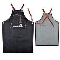 4 Style Denim BBQ Cleaning Apron Cooking Apron Kitchen Bib Chef Florist Bartender Neutral Cowboy Antifouling Pinafore Delantal