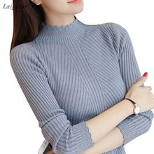 2018 autum women ladies long sleeve turtleneck slim fitting knitted thin sweater top femme korean pull tight casual shirts