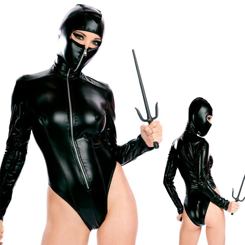 New High Quality Sexy Patent Leather Catsuit Halloween Sexy Ninja Cosplay Costumes Masked Woman Clubwear Sexy Lingerie Uniforms