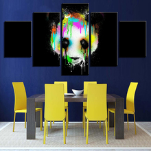 лучшая цена HD Print Photos Wall Decor Abstract Canvas 5 Pieces Modular Colorful Panda Head Pictures For Living Room Framed Poster Paintings