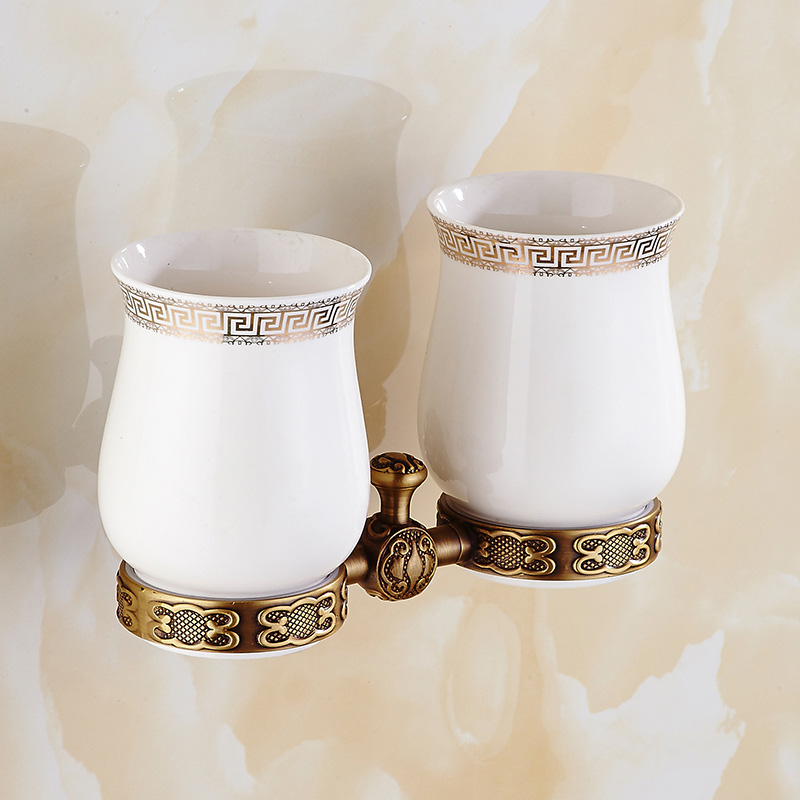 Holders solid brass antique double ceramic cups toothbrush - Wall mounted ceramic bathroom accessories ...