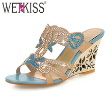 WETKISS Grande Taille 32-43 Sexy Sandales Compensées Mode Strass Diapositives Patch Sandales Causalité Rencontres Femmes Tongs Femmes Chaussures