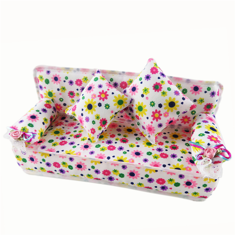 Barbie Doll Play House Cute Miniature House Furniture Flower Cloth Sofa 2  Cushions Doll Accessories. Wholesale Barbie Dolls Cottage