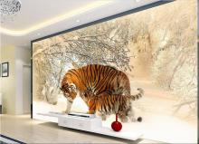 3d room wallpaper custom mural non-woven picture 3d The east-northern tiger winter snow painting photo 3d wall murals wallpaper цены