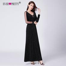 1c3265c28e8 Черное вечернее платье с длинным рукавом тех Довольно EP07394BK элегантный  Русалочка осень длинное официальное вечернее платья