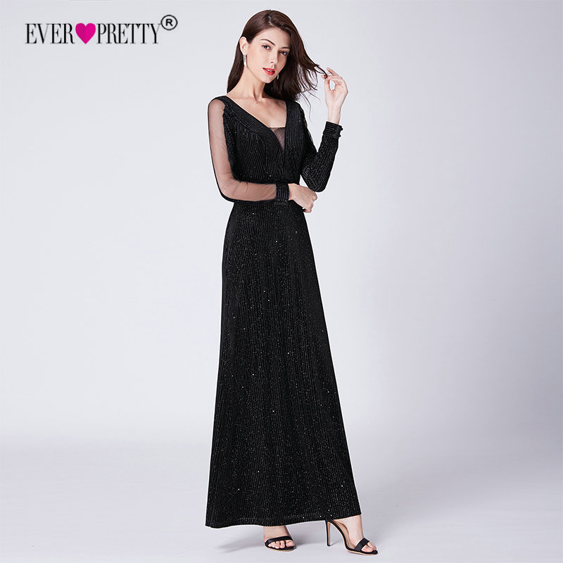 Black   Evening     Dress   Long Sleeve Ever Pretty EP07394BK Elegant Little Mermaid Autumn Long Formal Party Gowns Robe De Soiree 2018