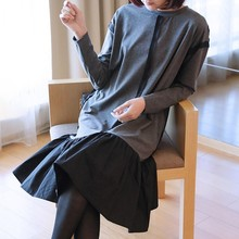 LANMREM 2019 New Fashion Spring Ruffle Patchwork Hemlin Females Dress Long Sleeve Loose O-neck Casual Cloth Vestido YF790