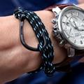 Cuerda de nylon hombre ancla pulsera del encanto pulsera de cuero de los hombres pulsera pulsera masculina accesorios mano brazalete de acero titanium