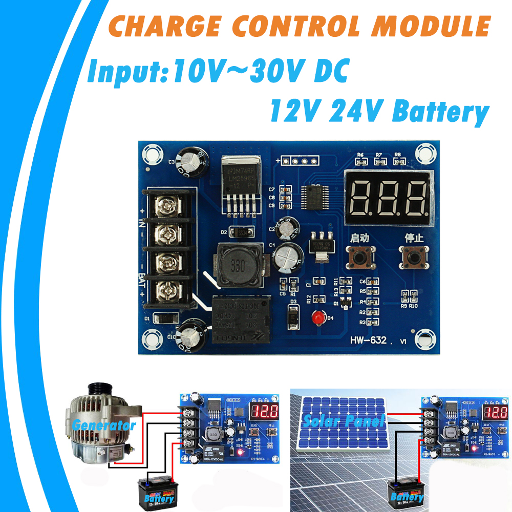 20A Generator Power Supply Solar Cells Charge Control Module for 12V and 24V Battery Protection Board 10V to 30V DC Input