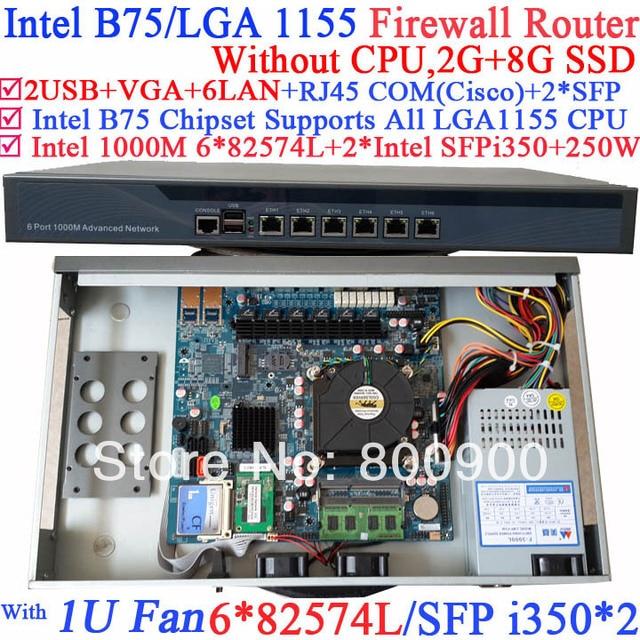 US $540 0  mikrotik vpn 1U Firewall rack server with Six 1000M 82574L  Gigabit NIC two intel i350 SFP fiber ports NO CPU 2G RAM 8G SSD-in Firewall  &