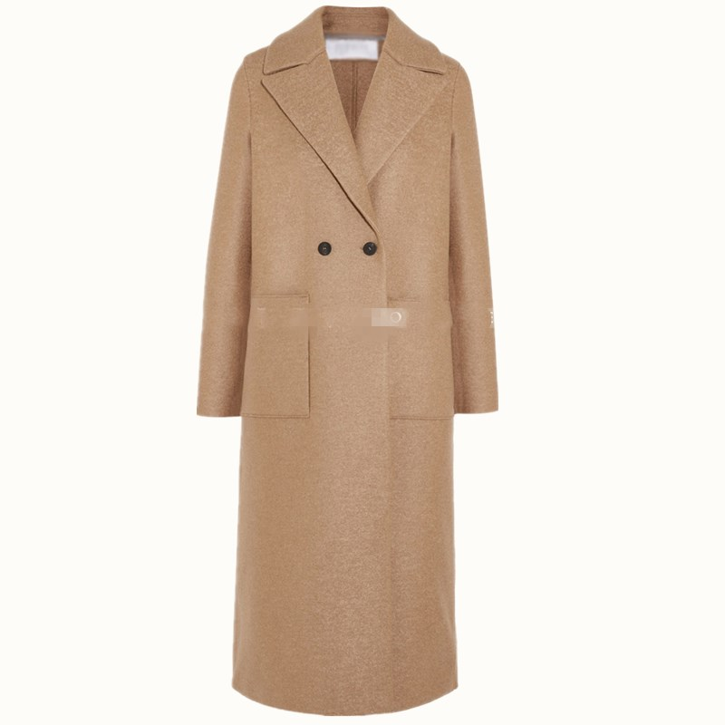 Women Long Wool blends Coats Camel straight double Pocket Office Lady autumn winter double breasted woolen coat