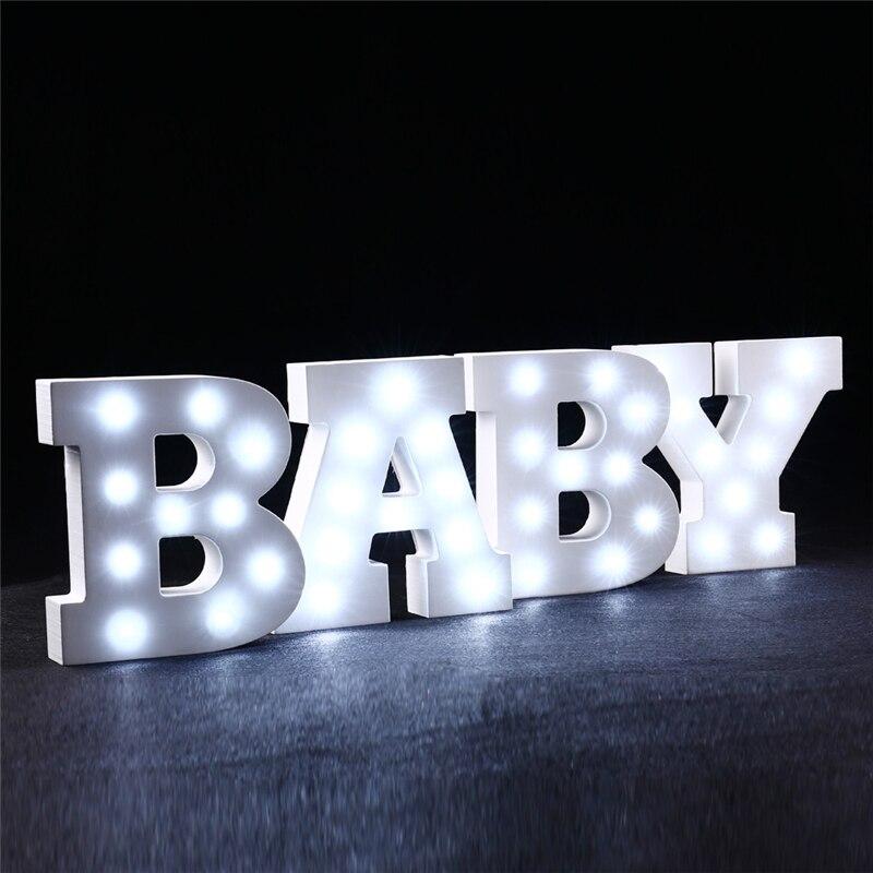 Aliexpress.com : Buy Hot ledertek White Wooden LED Alphabet Letter night Lights Wedding Birthday ...