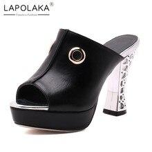 LAPOLAKA 2018 Peep Toe Chunky High Heels Party Wedding Women Pumps  Wholesale Platform Shoes Woman Mules 6bb701e9268f