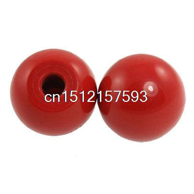 2 Pcs Red Round Plastic M10 Thread 35mm Dia Ball Lever Knobs2 Pcs Red Round Plastic M10 Thread 35mm Dia Ball Lever Knobs