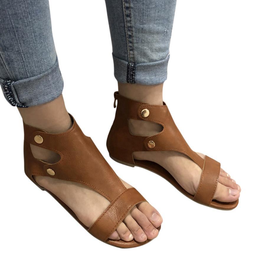 Summer Ladies Women Leather Sandals Fashion Flat Roman