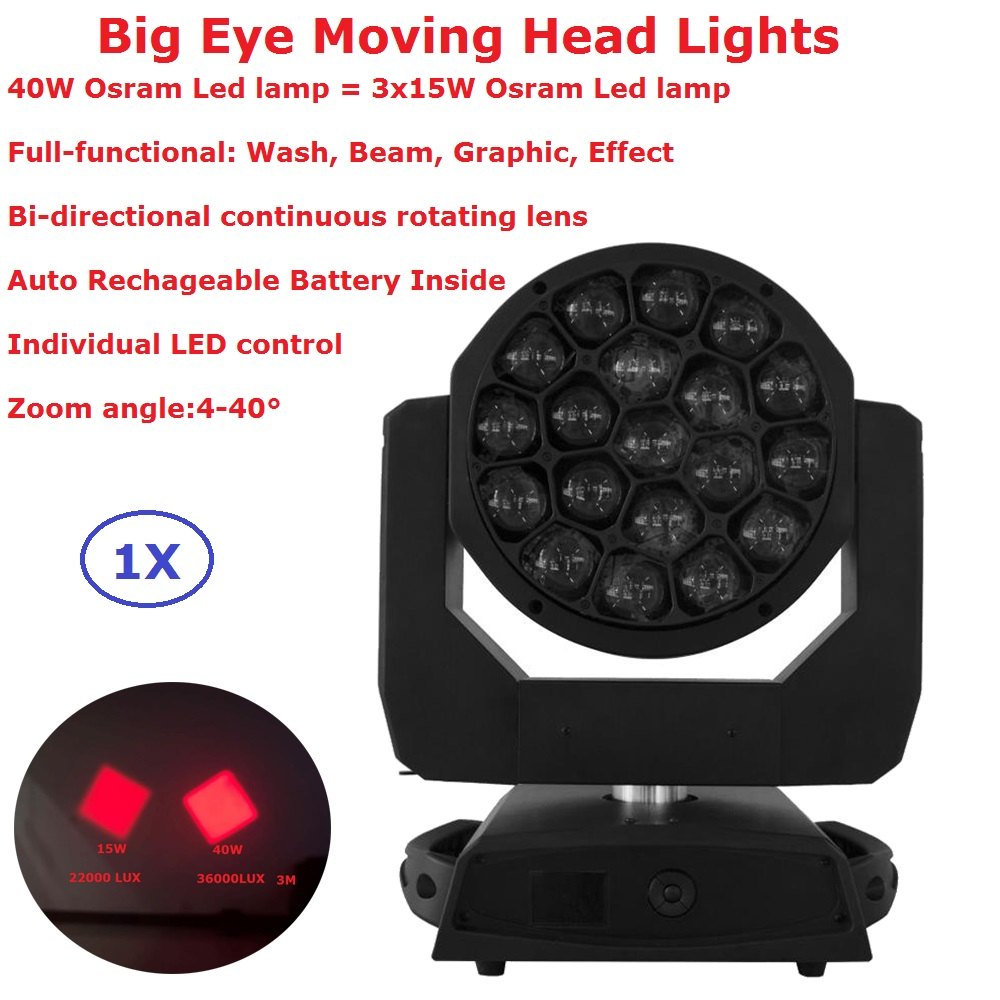 New Design Big Beam Eye Moving Head Light 19X40W RGBW 4IN1 Professional Stage Lights 4-40 Degree Zoom Individual LED ControlNew Design Big Beam Eye Moving Head Light 19X40W RGBW 4IN1 Professional Stage Lights 4-40 Degree Zoom Individual LED Control