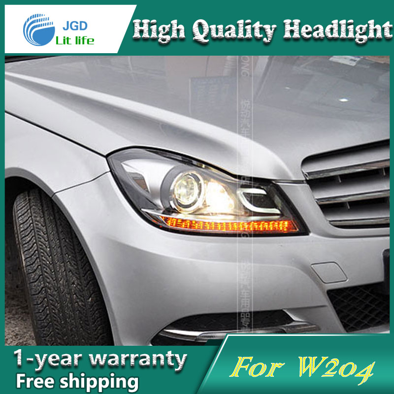 high quality Car styling case for Benz W204 2011-2013 Headlights LED Headlight DRL Lens Double Beam HID Xenon Car Accessories hireno car styling for toyo ta corolla 2011 13 headlights led super bright headlight drl xenon lens high fog lam