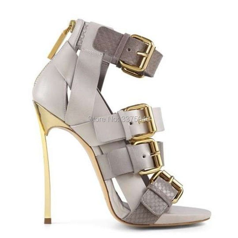 New Sexy Buckles Women Sandals Thin High Heels Gladiator Cage Cut outs Fashion Summer Party Female Shoes cow leather gladiator sandals cut outs decorative border rhinestones women shoes high heels summer shoes sizes 22 5cm 25cm