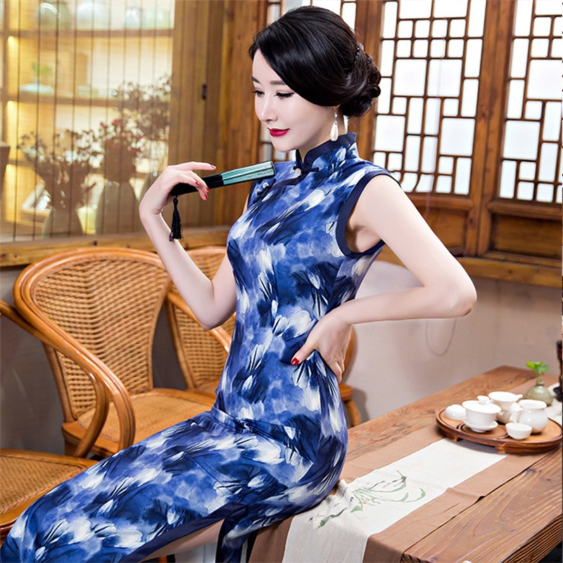 Classic Ladies Satin Long Cheongsam Hot Sale White Floral Print Traditional Chinese Style Qipao Dress Vestido Size S-XXXL hot sale creative style s size women s hair tool