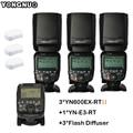 DHL 3 шт. YN600EX-RT II Авто TTL HSS Флэш Speedlite + YN-E3-RT YONGNUO контроллер для Canon 5D3 5D2 7D Mark II 6D 70D 60D 650D