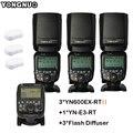DHL 3pcs YONGNUO YN600EX-RT II Auto TTL HSS Flash Speedlite +YN-E3-RT Controller for Canon 5D3 5D2 7D Mark II 6D 70D 60D 650D