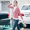 Novo 2016 Mulheres Outono Suéter de Tricô Listrado Branco Vermelho Listrado Blusas MFT24